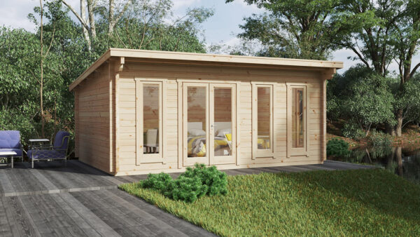 Gartenhaus mit Pultdach Barbados 21m² / 44mm / 6×4