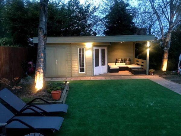 Gartenhaus mit Schuppen Paula 12,5m² / 7,5 x 3,2 m / 40mm