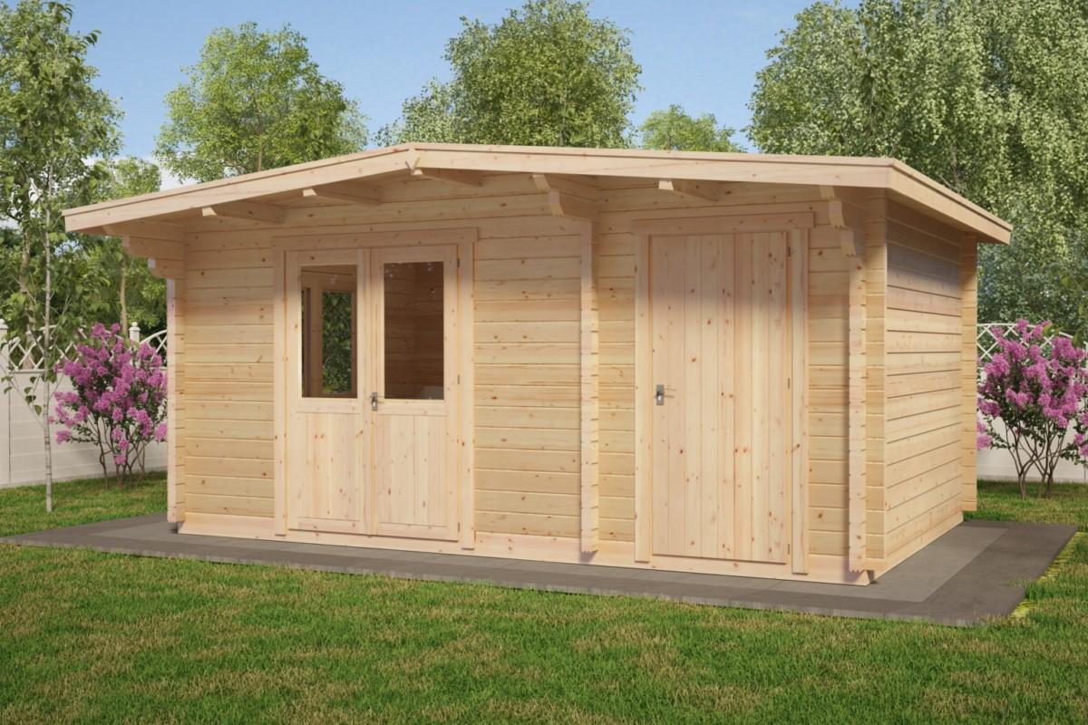gartenhaus mit schuppen super otto 15m 44mm 5 x 3 m hansa gartenhaus. Black Bedroom Furniture Sets. Home Design Ideas