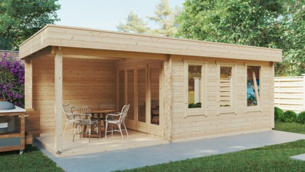 Gartenhaus mit Terrasse Jacob E 12m² / 44mm / 7 x 3 m