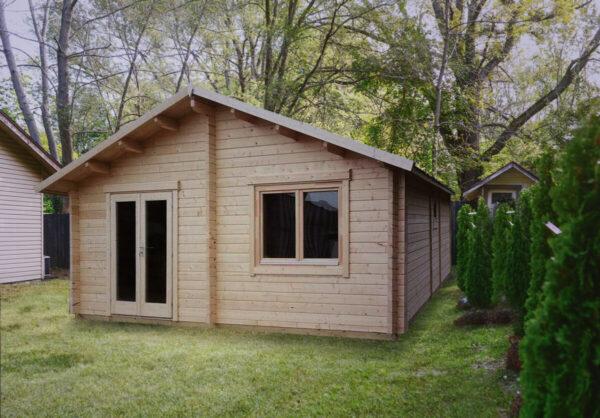 """Ferianhaus-Holzhaus mit zwei Schlafzimmern """"Irland"""" 43 m2 70mm 7x6m"""