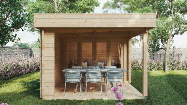 Gartenhaus mit Terrasse Lucas E 9m² / 44mm / 3 x 6 m