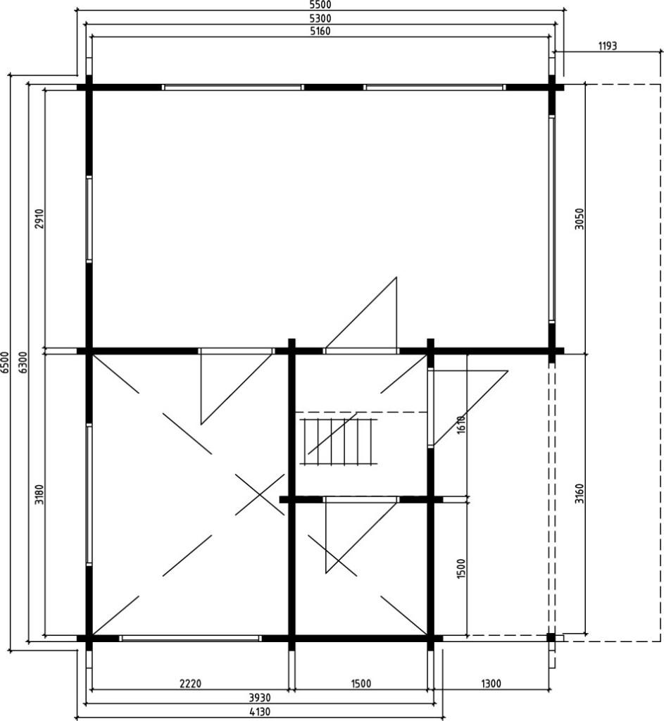 Log cabin Alabama 30m² / 5,5 x 6,5 m / 70mm