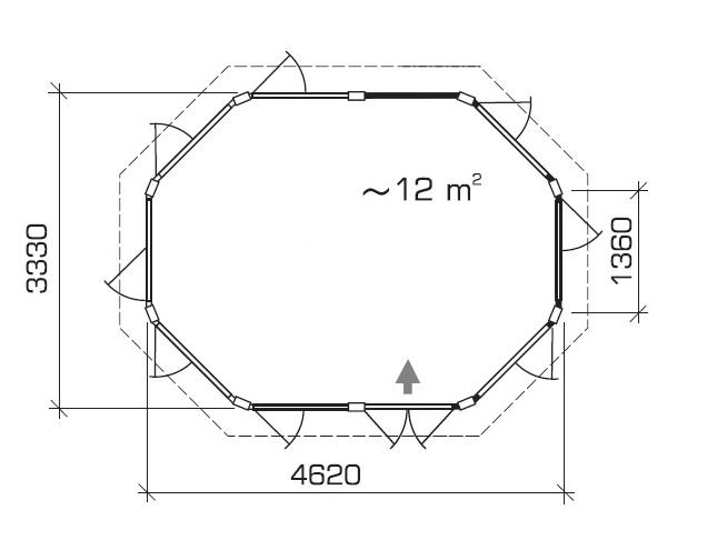 Summer house Albatros 12m² / 4,7 x 3,4m / 21mm