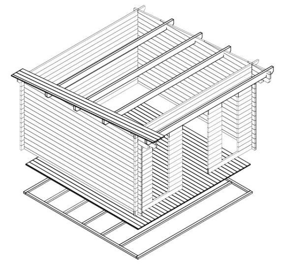 Summer house Aruba 15m² / 4,1 x 4,1 m / 44mm