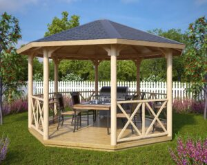 Wooden gazebo Lotte XL 15m² / 4,4 x 4,4 m