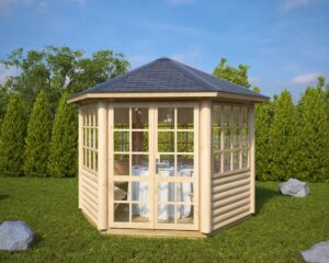 Hexagonal summer house Seattle S 6m² / 3 x 3m / 55mm