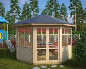 Octagonal summer house Paradise L 9,5m² / 3,6 x 3,6m / 42mm