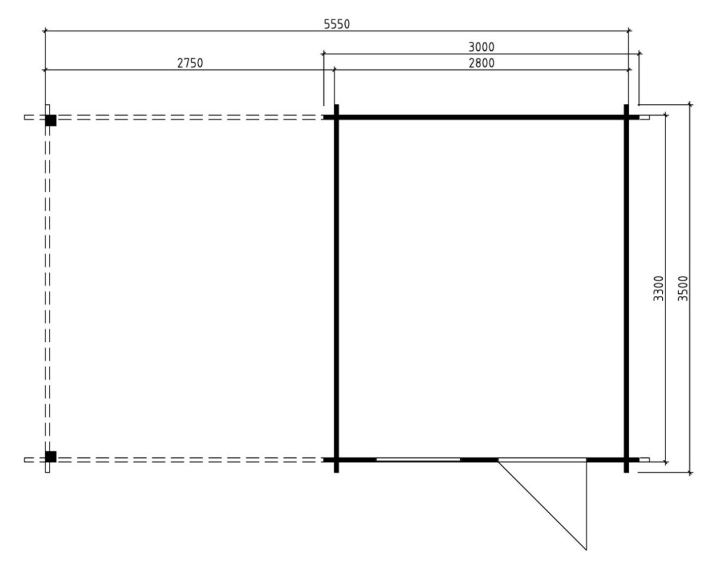 Summer house Carol A 9m² / 5,5 x 3,5 m / 40mm