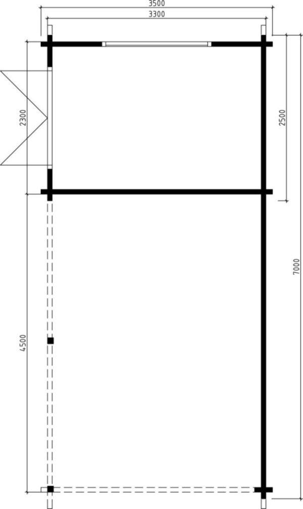 Carport A 21m² / 3,5 x 7 m / 70mm