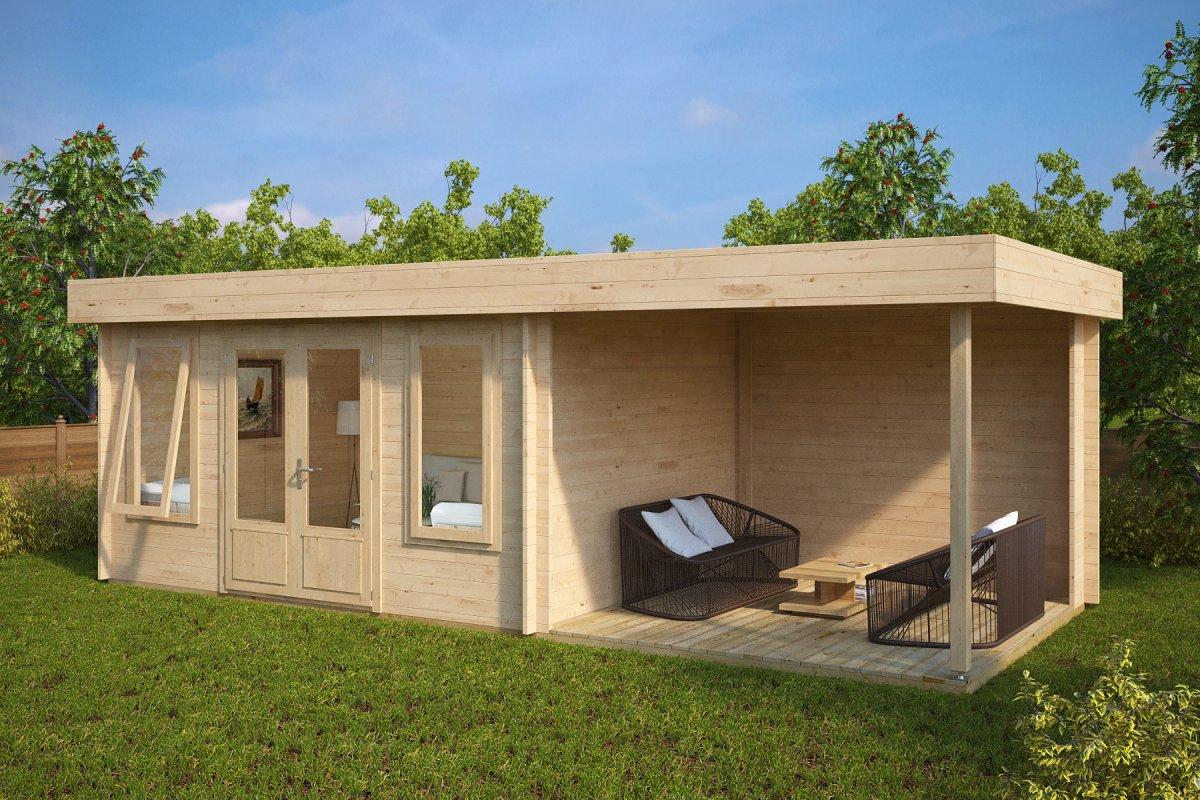 Summer House Jacob D with Veranda 12m² / 44mm / 7 x 3 m
