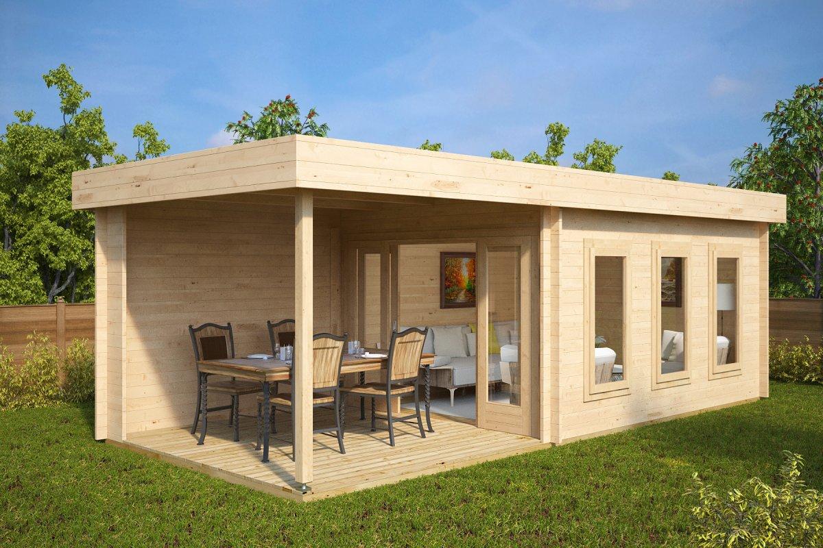 Summer House Jacob E with Veranda 12m² / 44mm / 7 x 3 m