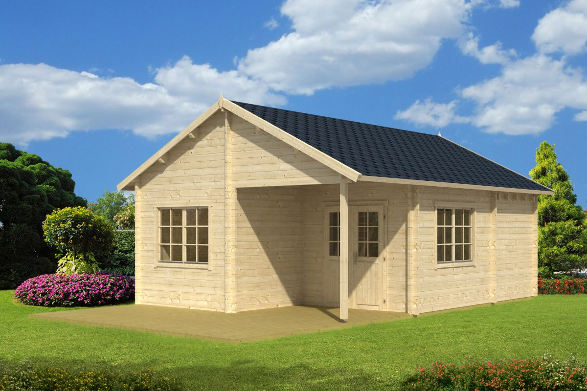 Log cabin Copenhagen 31m² / 5,4 x 7,4 m / 50mm
