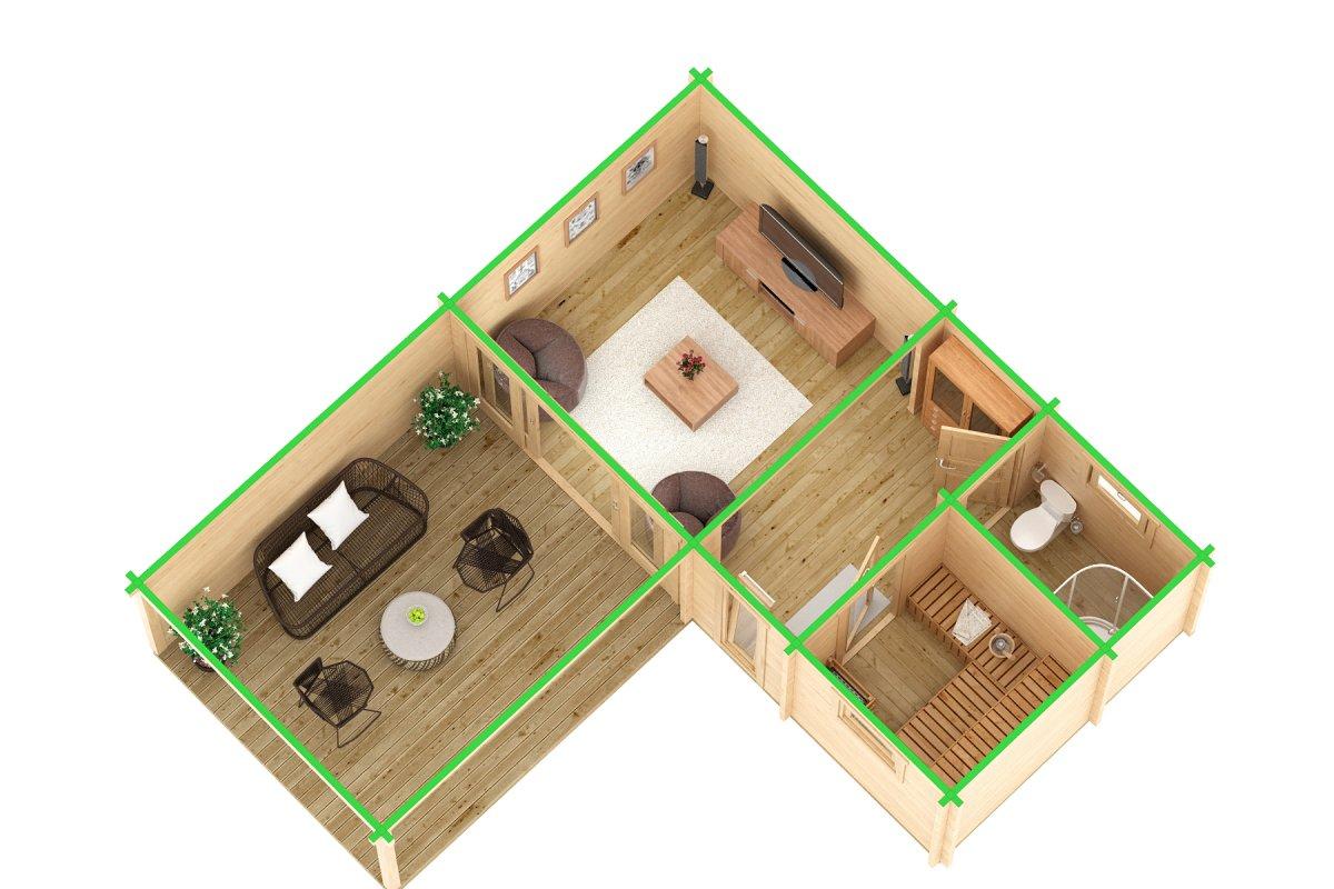 Corner Sauna Cabin A 22m² / 70mm / 7 x 3 m