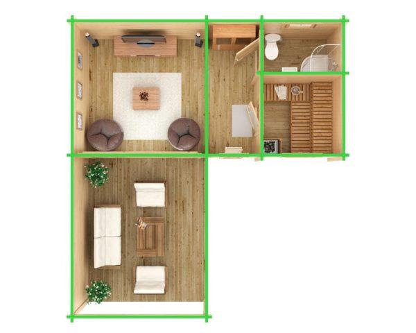 Corner Sauna Cabin B 22m² / 70mm / 7 x 3 m