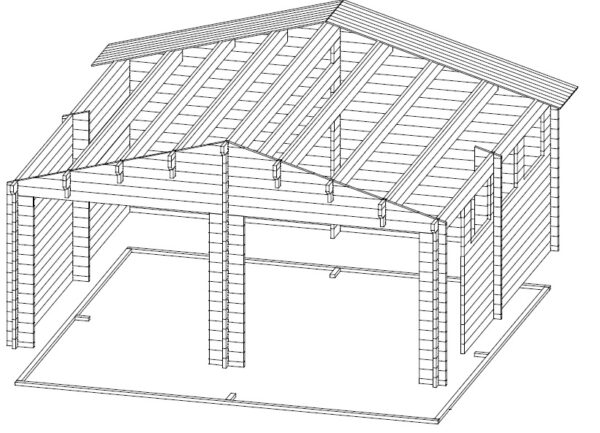 Double Garage E with Up and Over Doors / 5,7 x 5,5 m / 44mm