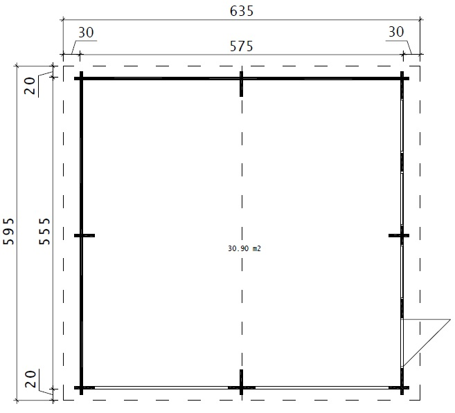 Double Garage E with Double Doors / 5,7 x 5,5 m / 44mm