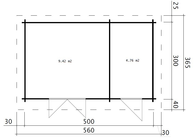 Double Shed C 15m² / 44mm / 5 x 3 m