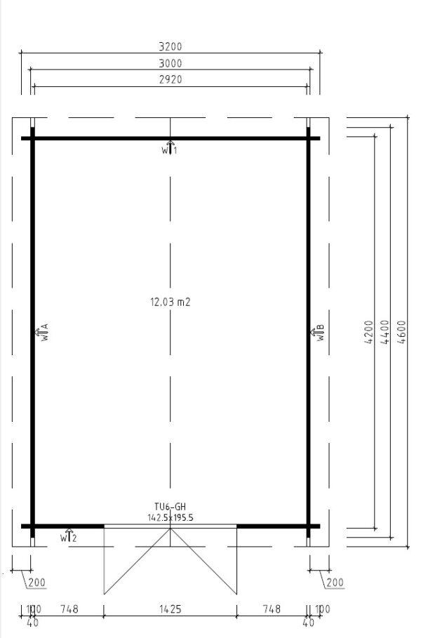 Garden shed Eva A 12m² / 3,2 x 4,4 m / 40mm