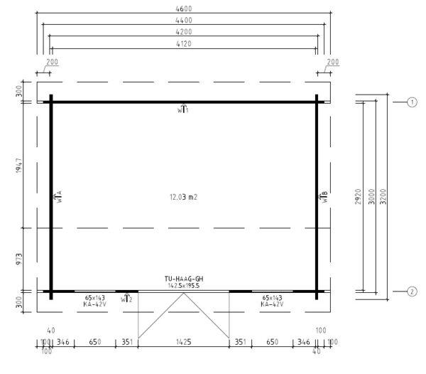 Summer house Eva D 12m² / 3,2 x 4,4 m / 40mm