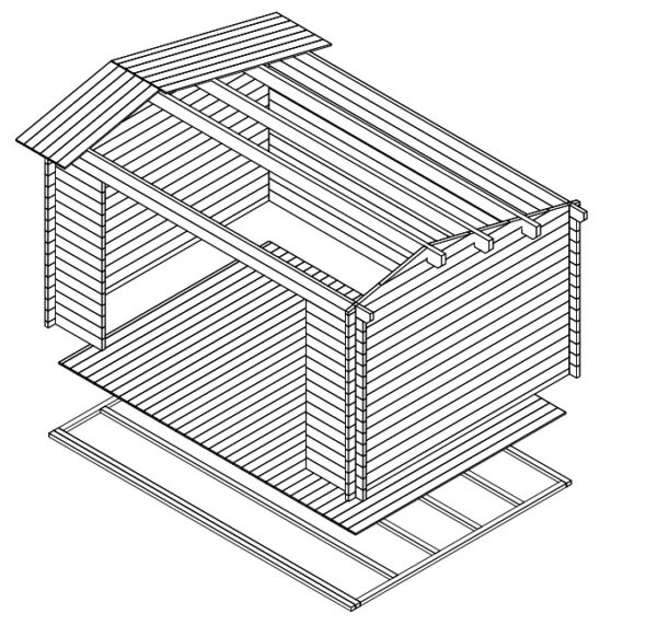 Summer house Eva E 12m² / 3,2 x 4,4 m / 44mm