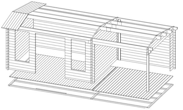 Summer house Eva D with veranda 12m² / 3,2 x 4,2 m / 44mm
