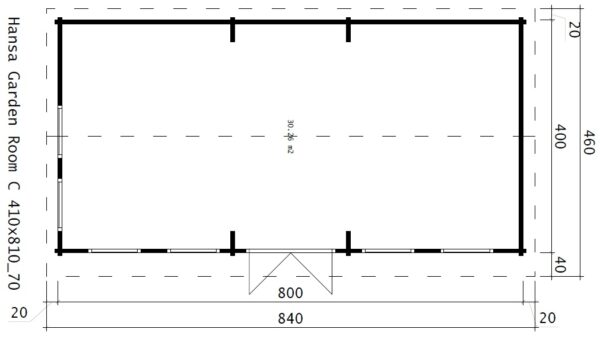 Garden Room C 30m² / 70mm / 8 x 4 m