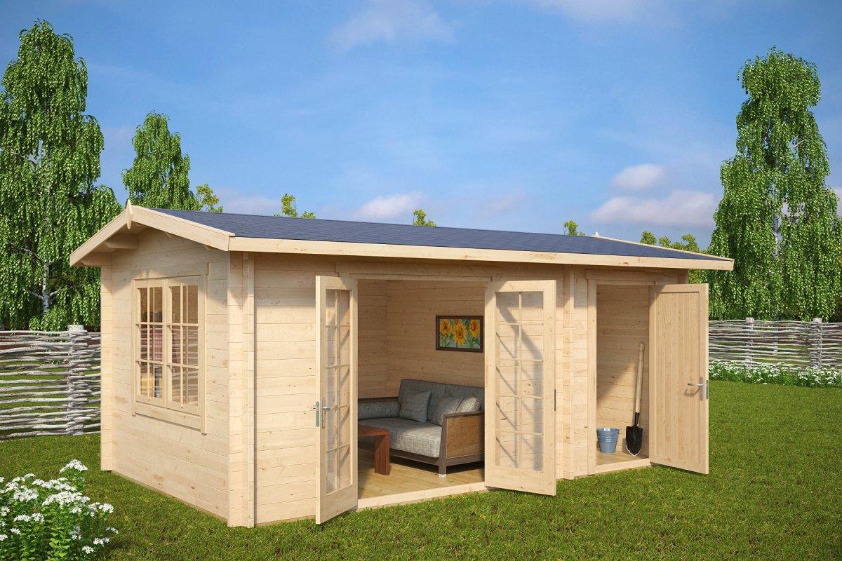 gartenhaus mit schuppen super fred 15m 44mm 5 x 3 m hansa gartenhaus. Black Bedroom Furniture Sets. Home Design Ideas