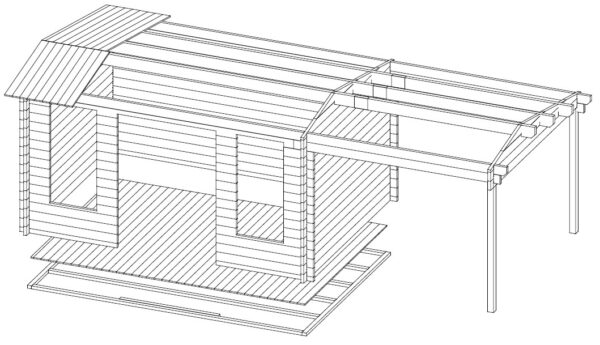 Summer house Eva D with canopy 12m² / 3,2 x 4,2 m / 44mm