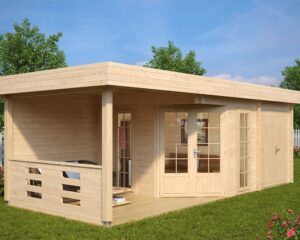 Summer house with shed Paula 12,5m² / 7,5 x 3,2 m / 40mm