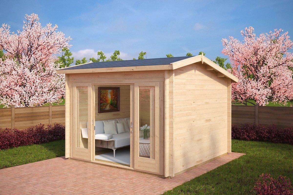 gartenhaus nora e 8 5m 3 2 x 3 2 m 44mm hansa gartenhaus. Black Bedroom Furniture Sets. Home Design Ideas