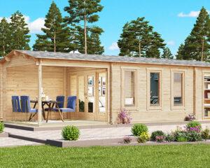 Gartenhaus mit Veranda und Schuppen Super Eva E 18 m2 / 44 mm