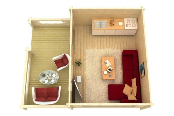 Summer house Armin 19m² / 5,3 x 6,7 m / 70mm