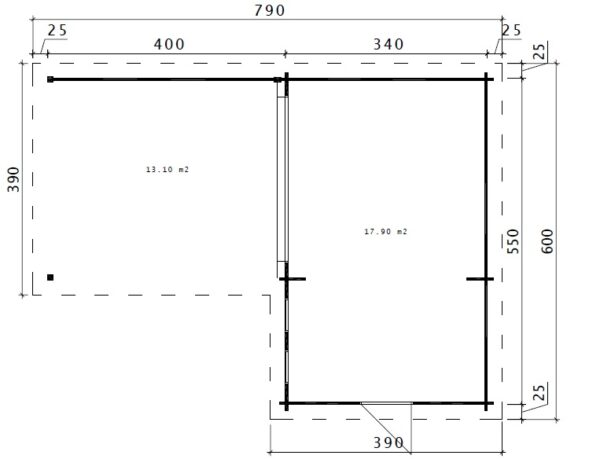 Hansa Corner Room A 18m² / 44mm / 6 x 3 m