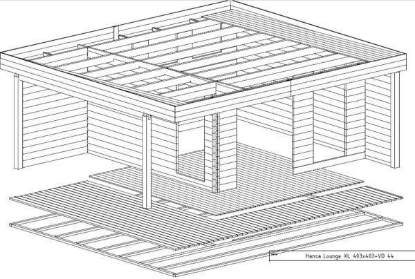 Summer house Hansa Lounge XL 14,5m² / 6 x 5 m / 44mm