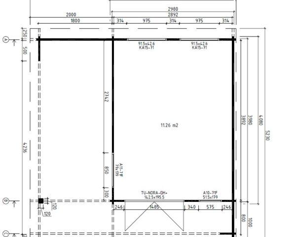 Summer house Hansa Lounge 11,5m² / 5 x 5 m / 44mm