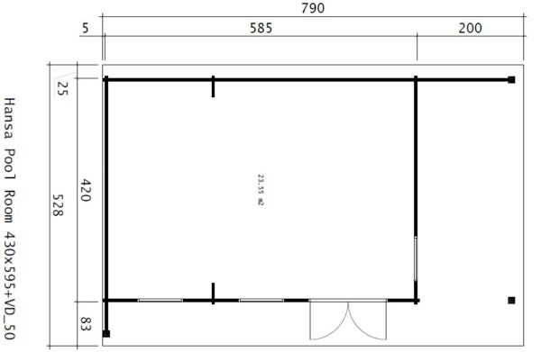 Summer House Hansa Lounge Pool Edition 24m² / 8 x 5 m / 58mm