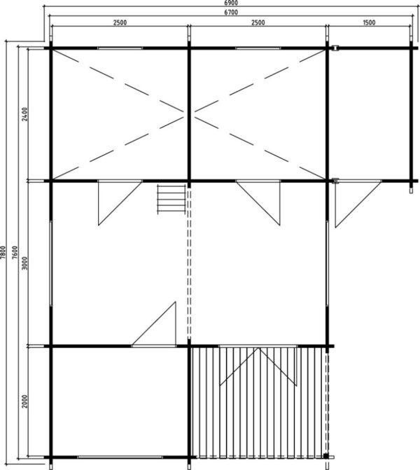 Log cabin Helsinki 35m² / 6,9 x 7,8 m / 50mm