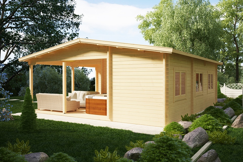 Two Bedroom Log Cabin Holiday B 42m2 / 7 x 9m / 70mm