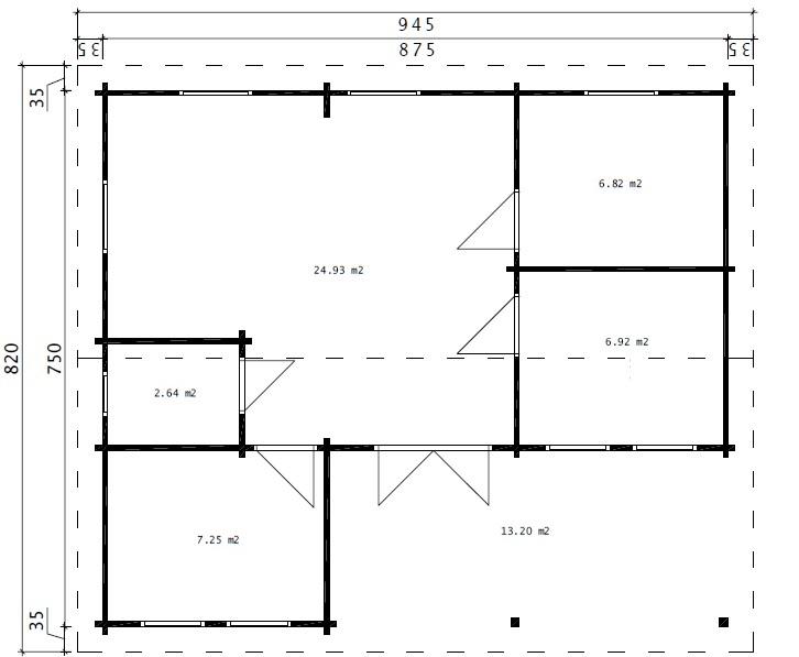 Three Bedroom Hansa Holiday Cabin D 50m2 / 7 x 9m / 70mm