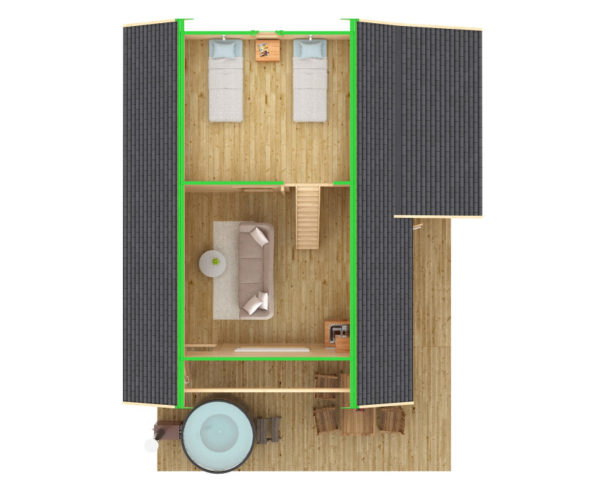 Log cabin Dallas 42,5m² / 7,3 x 7,2 m / 70mm