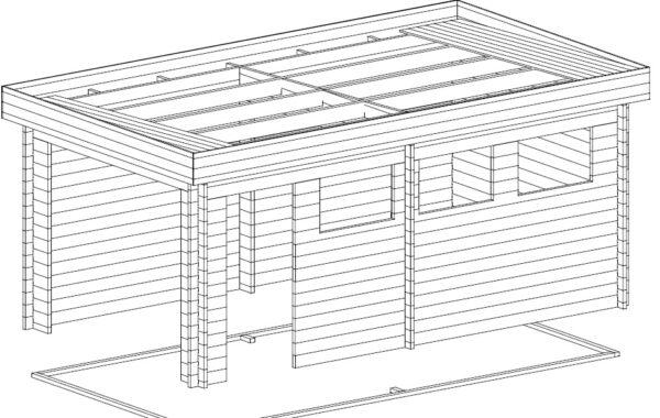 Garage Hansa C with Double Doors / 3 x 5,5 m / 44mm