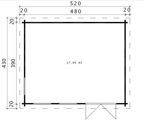 Garden Room Ian D 18m² / 5 x 4 m / 58mm
