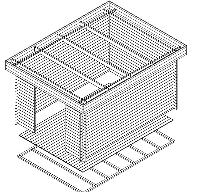Garden shed Jacob A 12m² / 3,2 x 4,4 m / 40mm