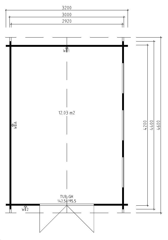 Summer house Jacob B 12m² / 3,2 x 4,4 m / 40mm