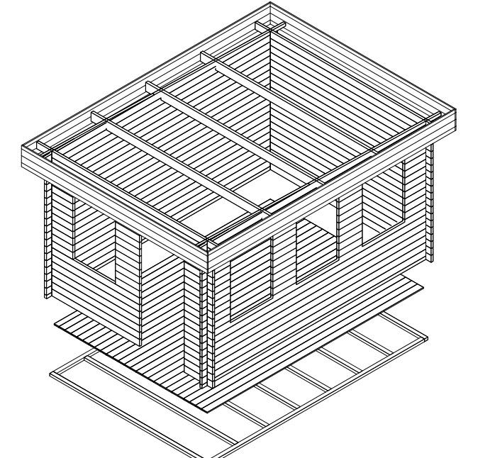 Summer house Jacob C 12m² / 3,2 x 4,4 m / 40mm