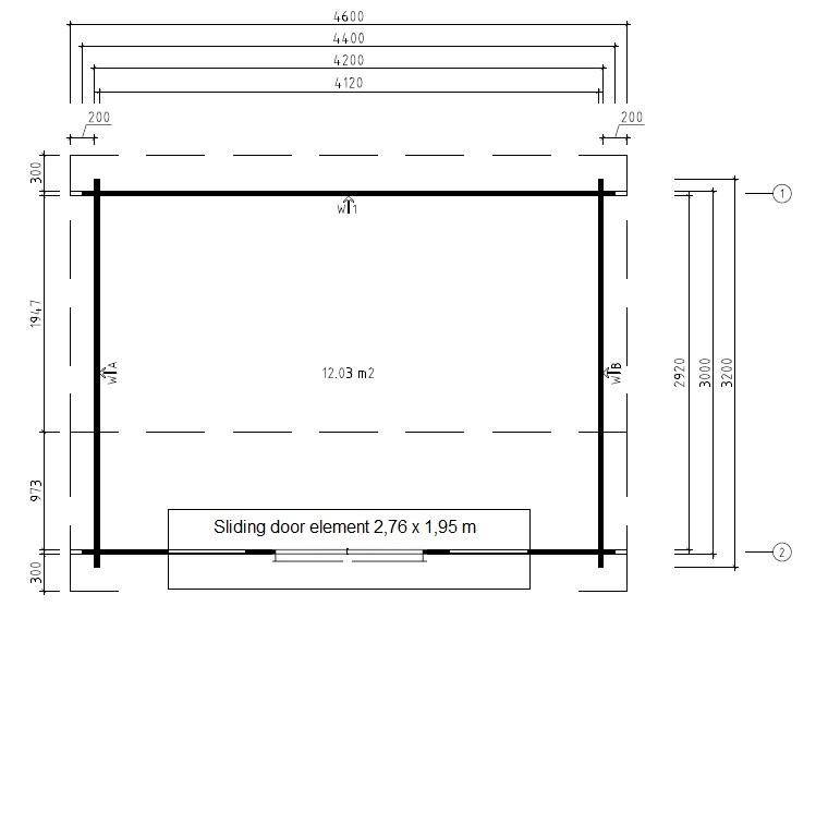 Summer house Jacob E 12m² / 3,2 x 4,4 m / 44mm