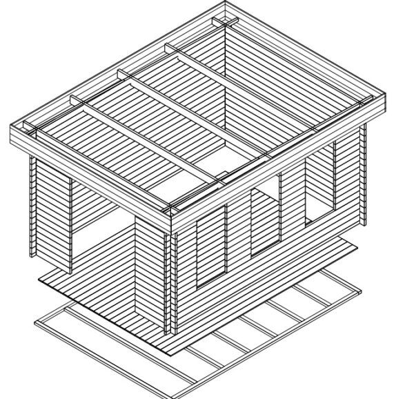 Summer house Jacob B 12m² / 3,2 x 4,4 m / 40mm