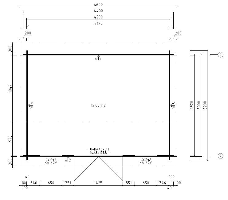 Summer house Jacob D 12m² / 3,2 x 4,4 m / 40mm