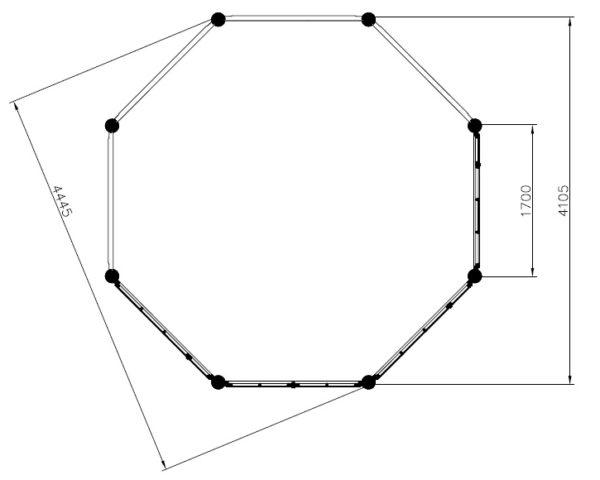 Wooden gazebo Elizabeth XL 15m² / 4,4 x 4,4 m